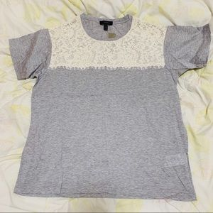 J Crew Gray T-shirt W. White Lace Size: MP New